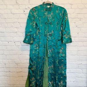 Green authentic floral kimono robe button front L